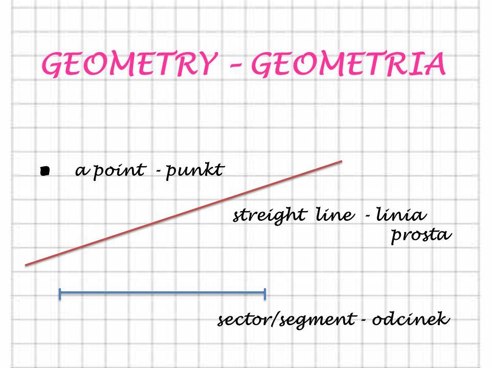 . a point - punkt GEOMETRY – GEOMETRIA streight line - linia prosta