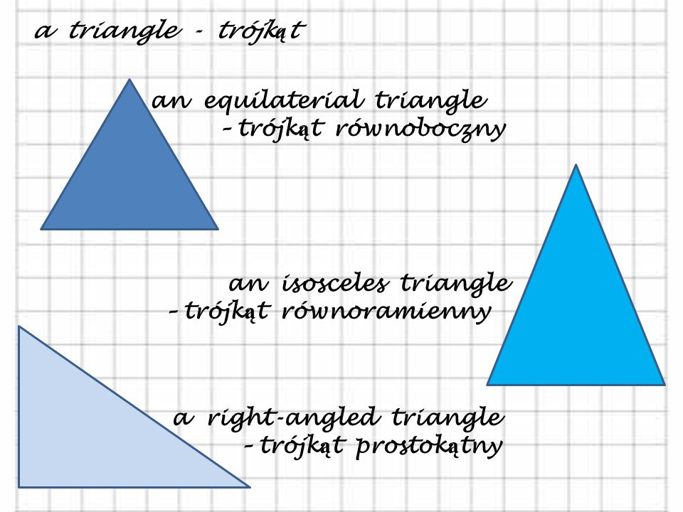 a triangle - trójkąt an equilaterial triangle. – trójkąt równoboczny. an isosceles triangle.