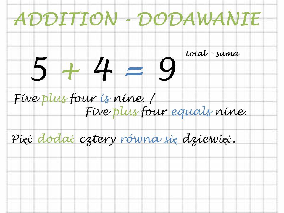 5 + 4 = 9 ADDITION - DODAWANIE Five plus four is nine. /