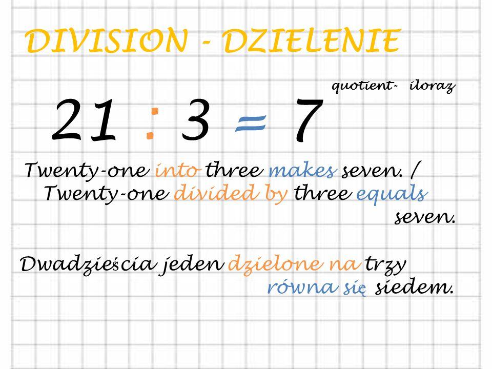 21 : 3 = 7 DIVISION - DZIELENIE Twenty-one into three makes seven. /