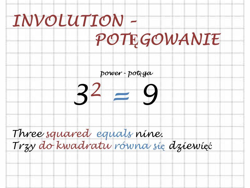 32 = 9 INVOLUTION – POTĘGOWANIE Three squared equals nine.
