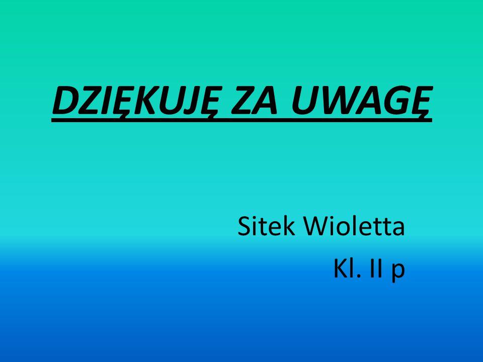DZIĘKUJĘ ZA UWAGĘ Sitek Wioletta Kl. II p