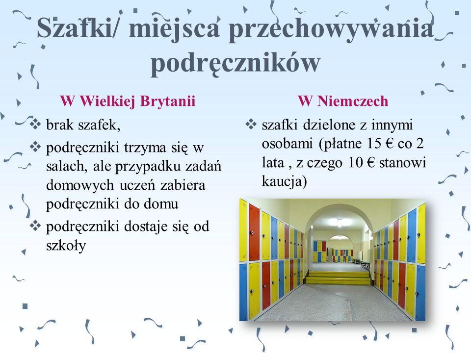 Szafki/ miejsca przechowywania podręczników