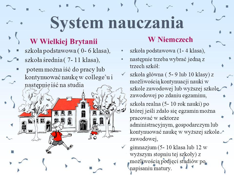 System nauczania W Niemczech W Wielkiej Brytanii
