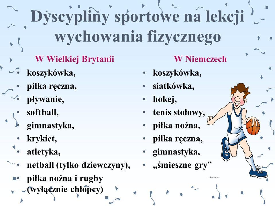 Dyscypliny sportowe na lekcji wychowania fizycznego