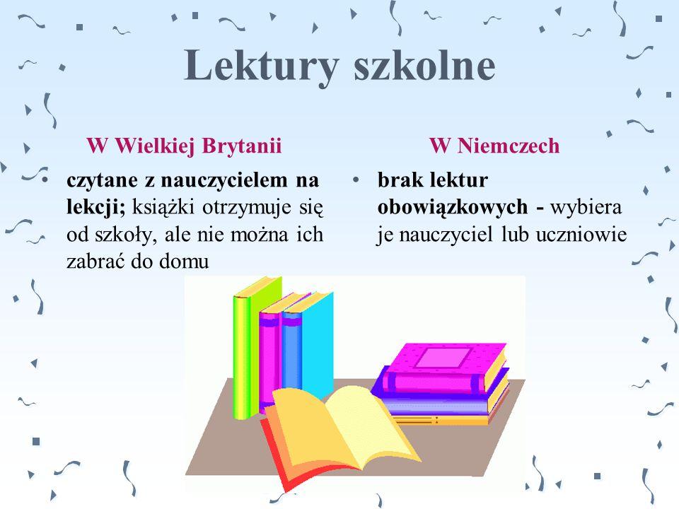Lektury szkolne W Wielkiej Brytanii W Niemczech