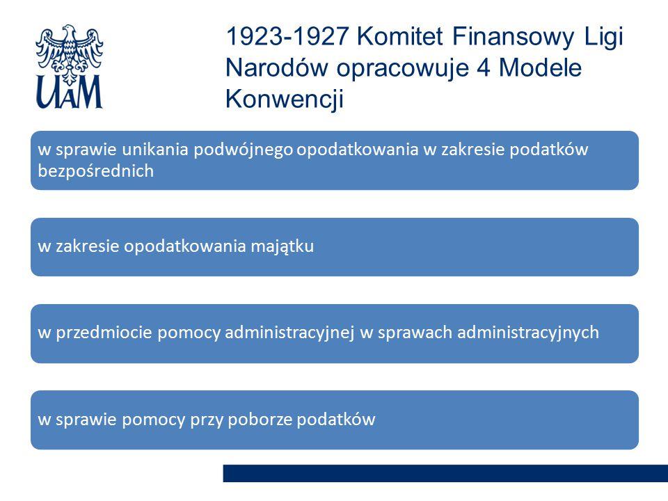 1923-1927 Komitet Finansowy Ligi Narodów opracowuje 4 Modele Konwencji