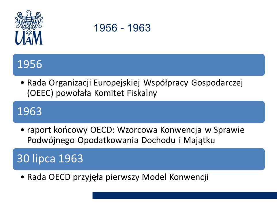 1956 - 1963 1956. Rada Organizacji Europejskiej Współpracy Gospodarczej (OEEC) powołała Komitet Fiskalny.