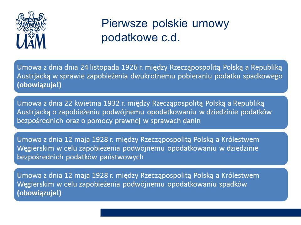 Pierwsze polskie umowy podatkowe c.d.