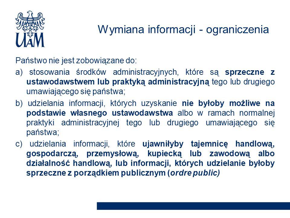 Wymiana informacji - ograniczenia