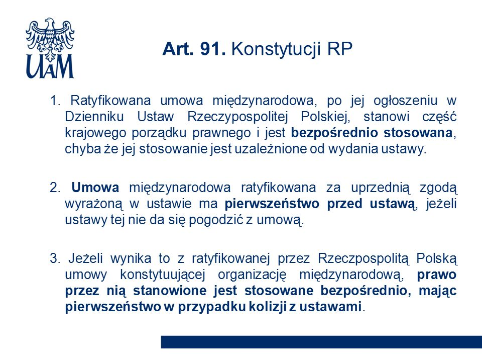 Art. 91. Konstytucji RP
