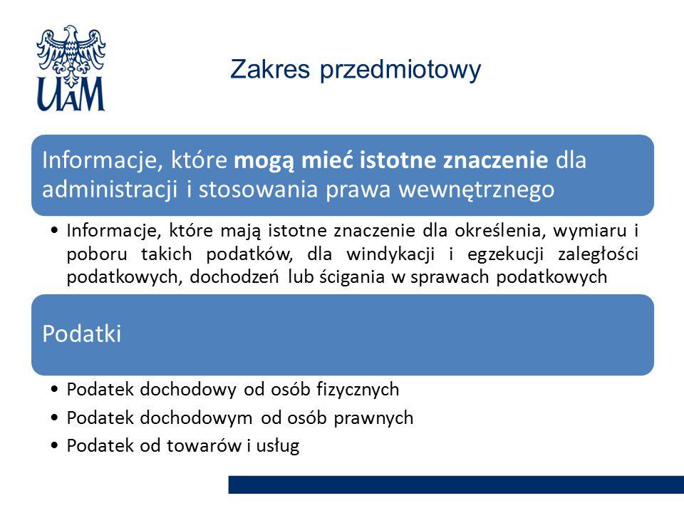 Zakres przedmiotowy Informacje, które mogą mieć istotne znaczenie dla administracji i stosowania prawa wewnętrznego