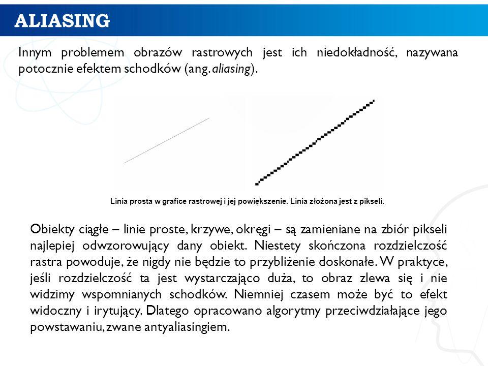 ALIASING Innym problemem obrazów rastrowych jest ich niedokładność, nazywana potocznie efektem schodków (ang. aliasing).