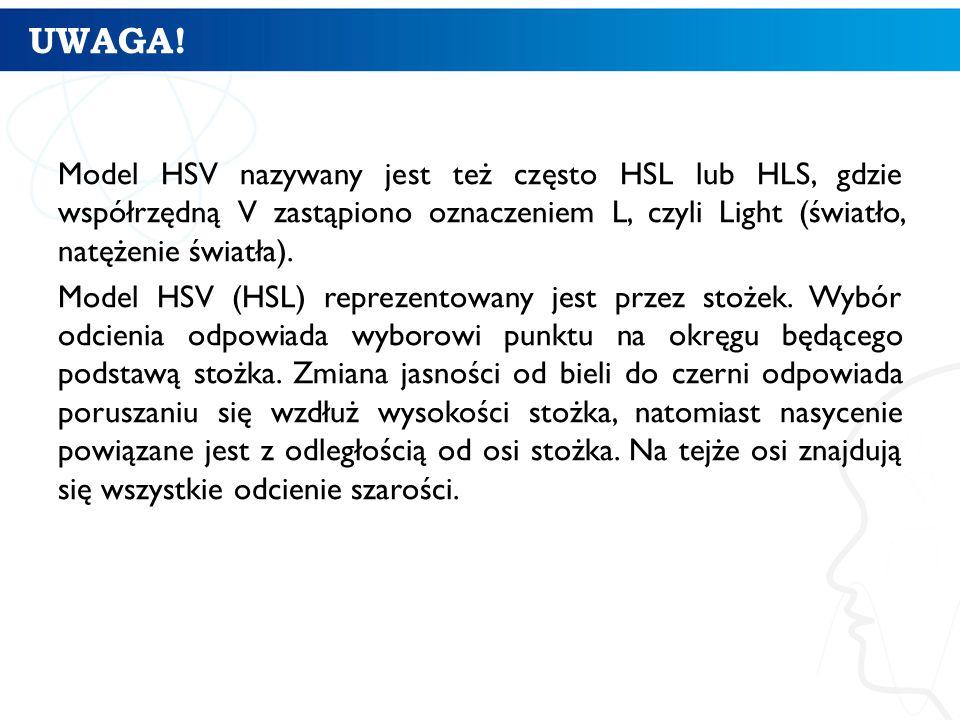 UWAGA! Model HSV nazywany jest też często HSL lub HLS, gdzie współrzędną V zastąpiono oznaczeniem L, czyli Light (światło, natężenie światła).
