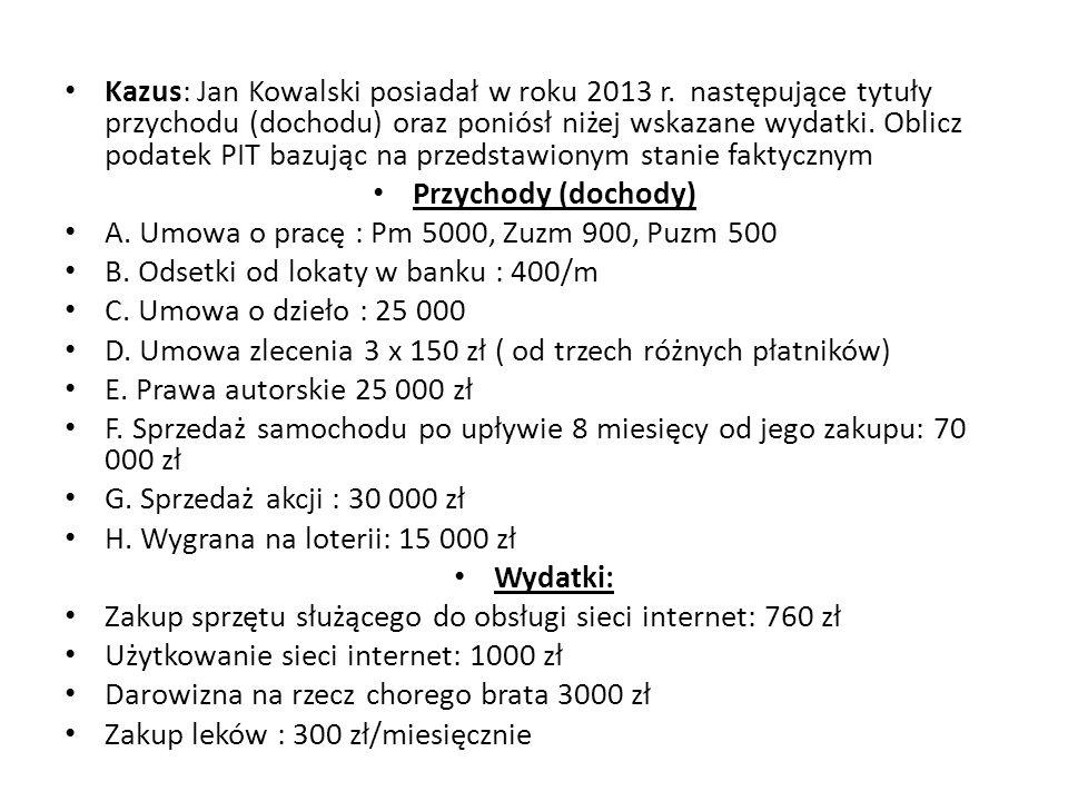 Kazus: Jan Kowalski posiadał w roku 2013 r