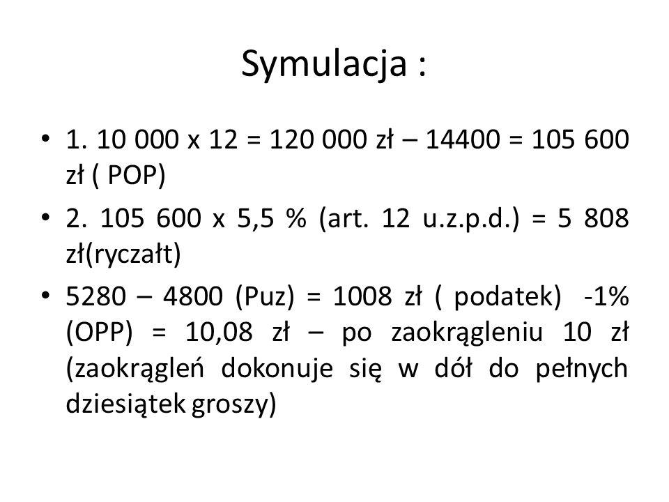 Symulacja : 1. 10 000 x 12 = 120 000 zł – 14400 = 105 600 zł ( POP)