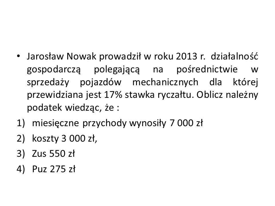 Jarosław Nowak prowadził w roku 2013 r
