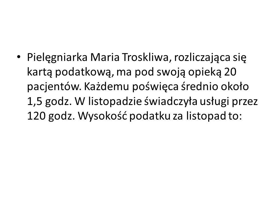 Pielęgniarka Maria Troskliwa, rozliczająca się kartą podatkową, ma pod swoją opieką 20 pacjentów.