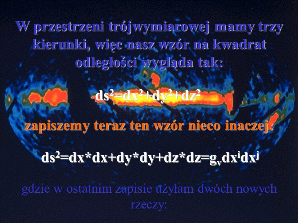 zapiszemy teraz ten wzór nieco inaczej: ds2=dx*dx+dy*dy+dz*dz=gvdxidxj