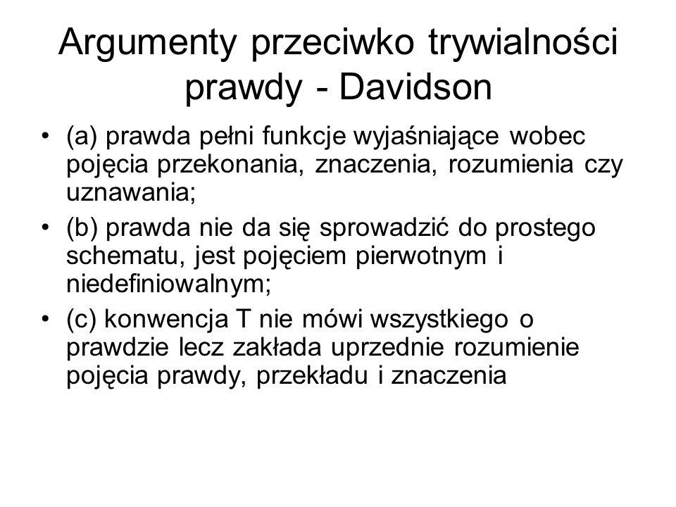 Argumenty przeciwko trywialności prawdy - Davidson