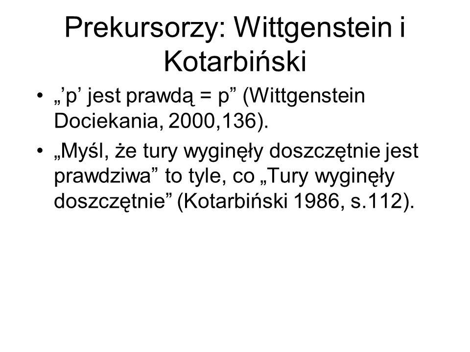 Prekursorzy: Wittgenstein i Kotarbiński