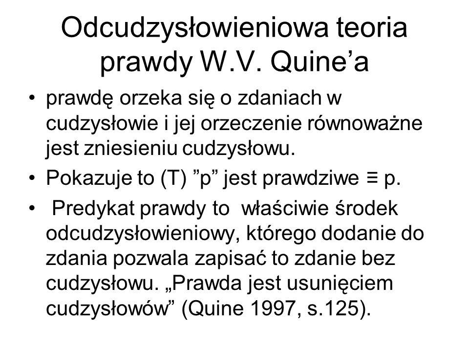 Odcudzysłowieniowa teoria prawdy W.V. Quine'a