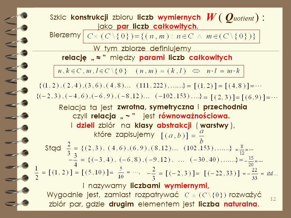 W ( Quotient ) : Szkic konstrukcji zbioru liczb wymiernych