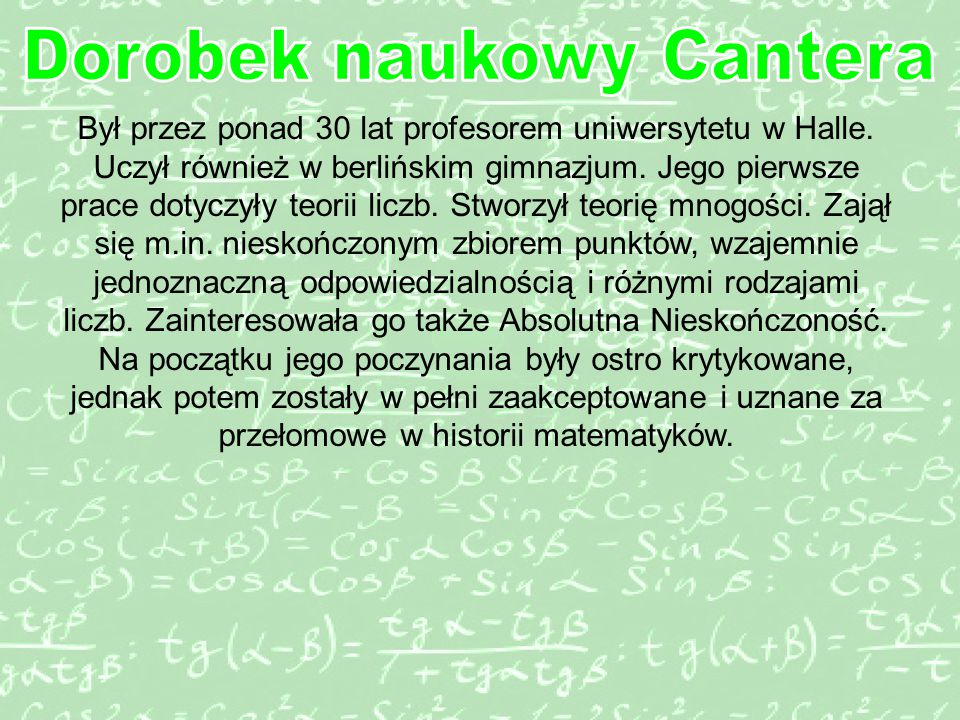 Dorobek naukowy Cantera