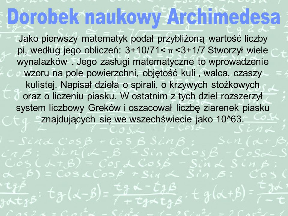 Dorobek naukowy Archimedesa