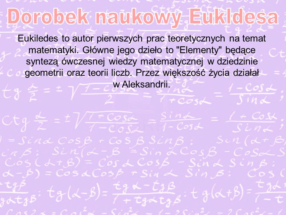 Dorobek naukowy Eukldesa