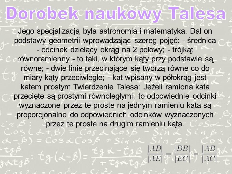 Dorobek naukowy Talesa