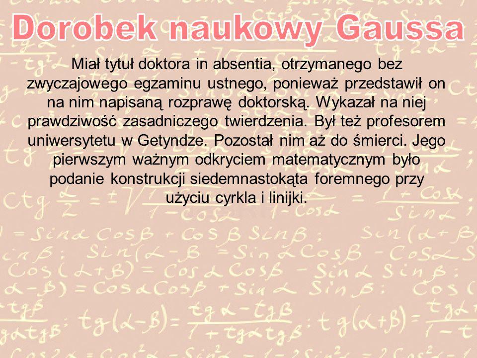 Dorobek naukowy Gaussa