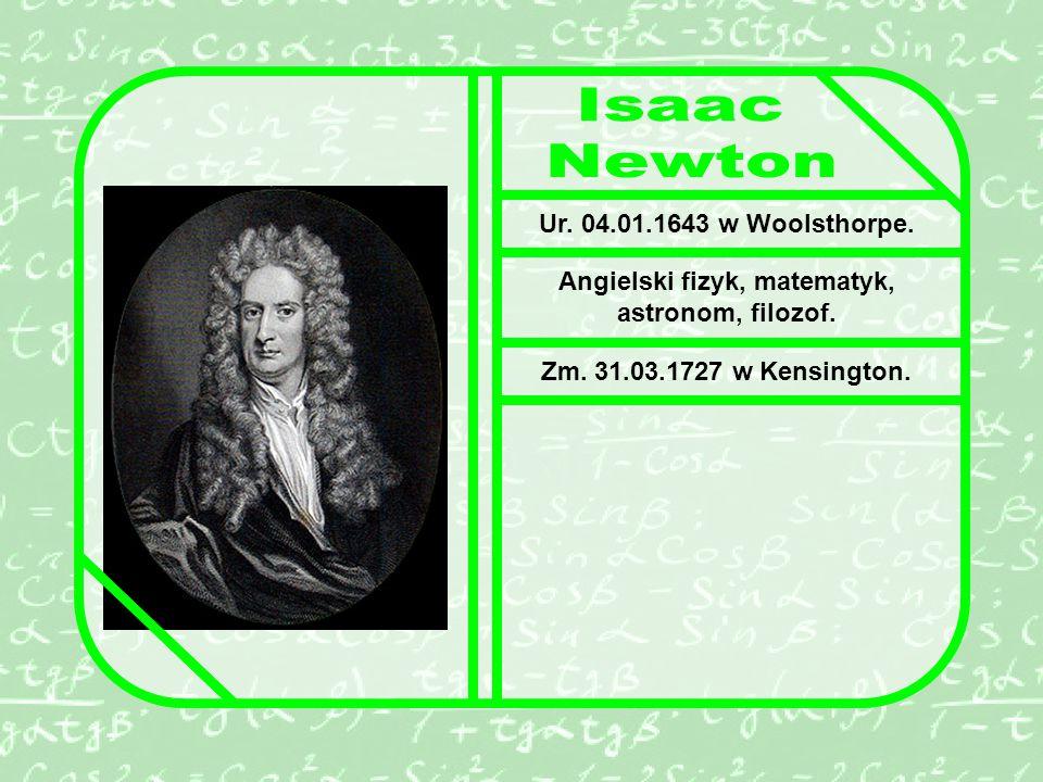 Angielski fizyk, matematyk, astronom, filozof.