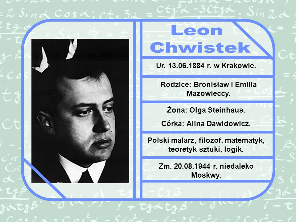 Leon Chwistek Ur. 13.06.1884 r. w Krakowie.