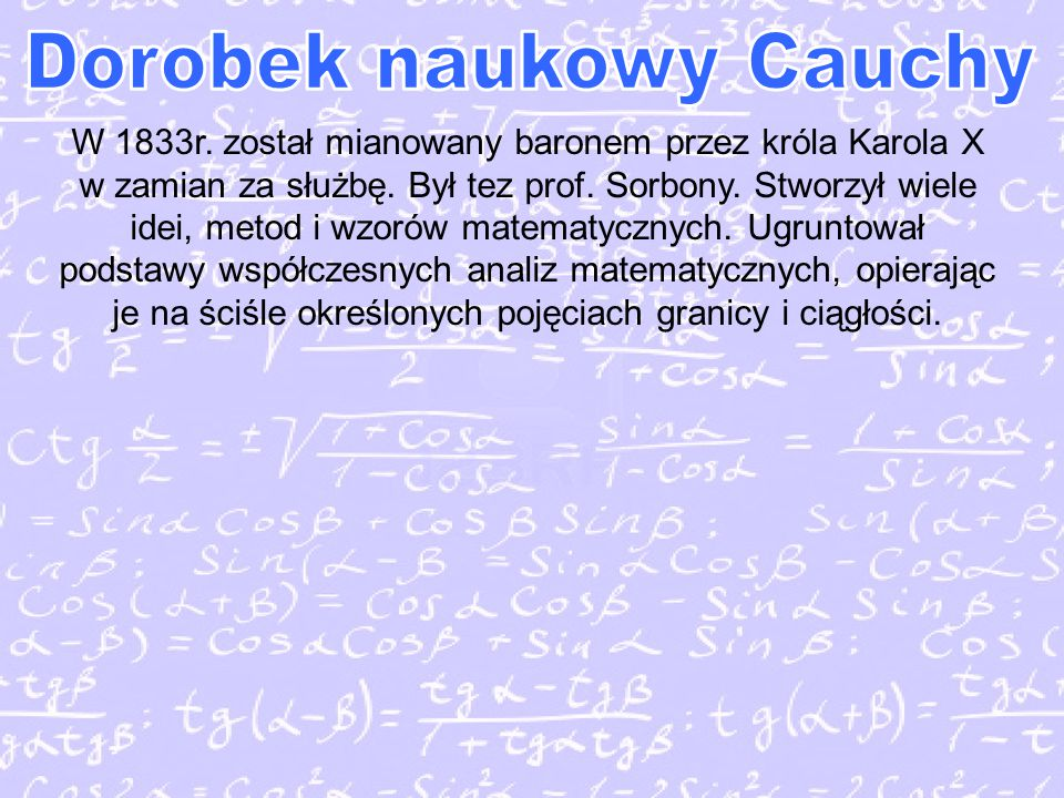 Dorobek naukowy Cauchy