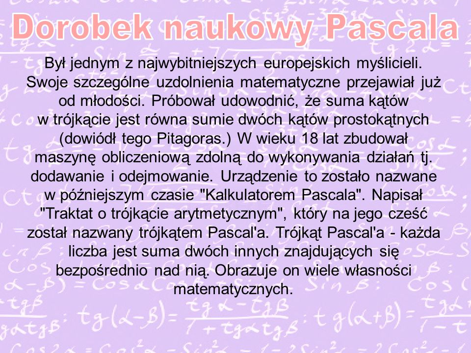 Dorobek naukowy Pascala