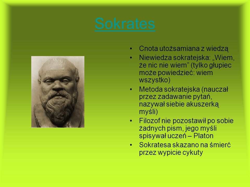 Sokrates Cnota utożsamiana z wiedzą