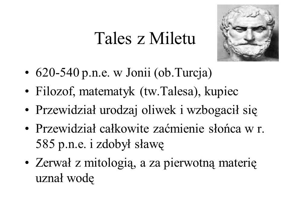 Tales z Miletu 620-540 p.n.e. w Jonii (ob.Turcja)