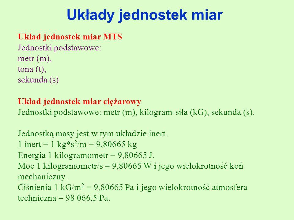 Układy jednostek miar Układ jednostek miar MTS Jednostki podstawowe: