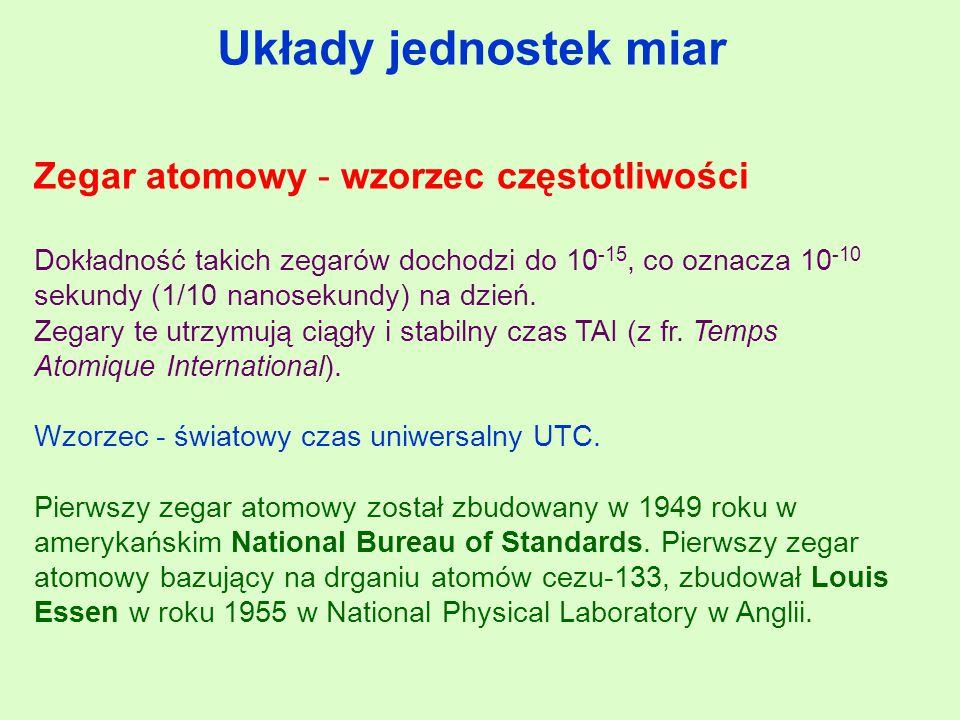 Układy jednostek miar Zegar atomowy - wzorzec częstotliwości