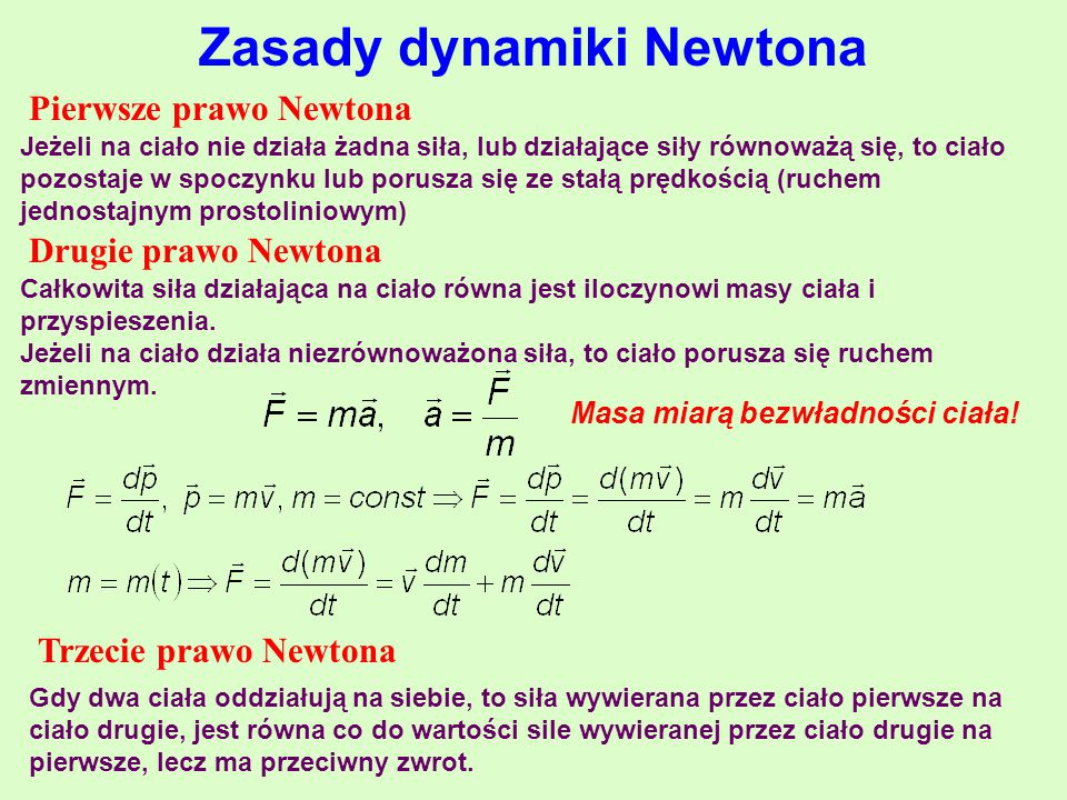 Zasady dynamiki Newtona Masa miarą bezwładności ciała!