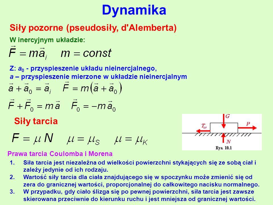 Dynamika Siły pozorne (pseudosiły, d Alemberta) Siły tarcia