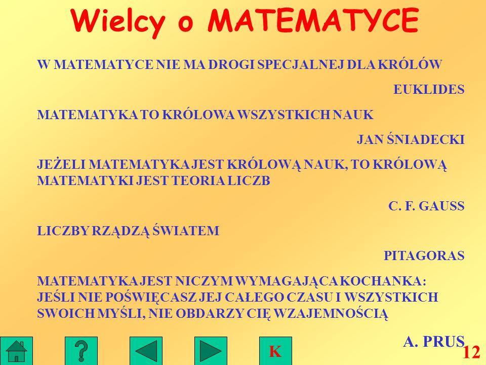 Wielcy o MATEMATYCE 12 K A. PRUS