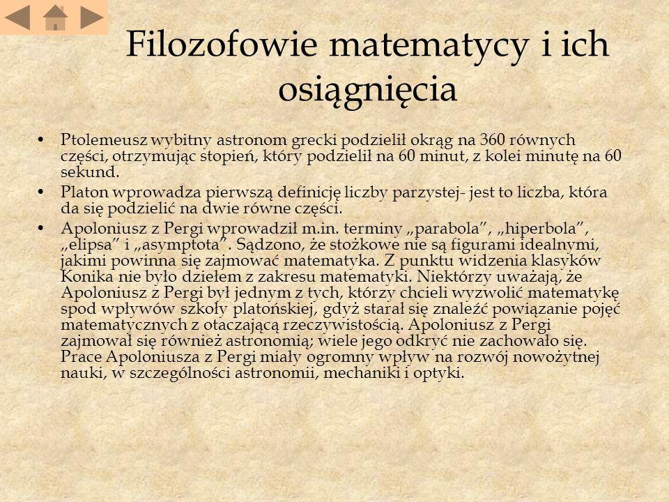 Filozofowie matematycy i ich osiągnięcia