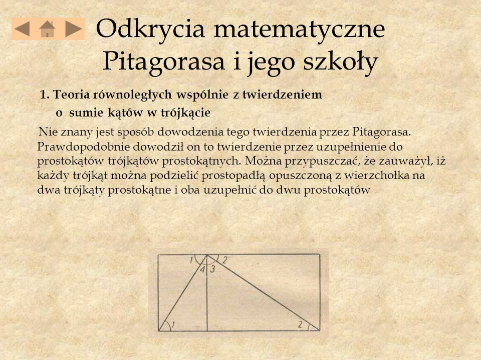 Odkrycia matematyczne Pitagorasa i jego szkoły