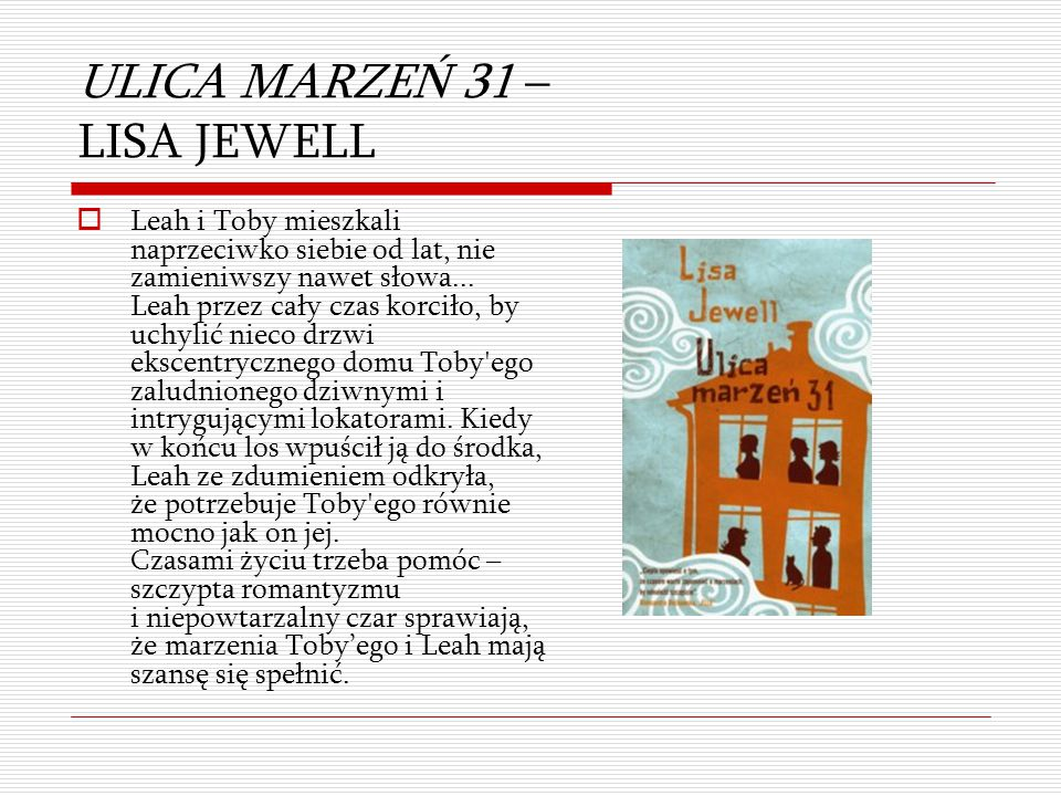 ULICA MARZEŃ 31 – LISA JEWELL