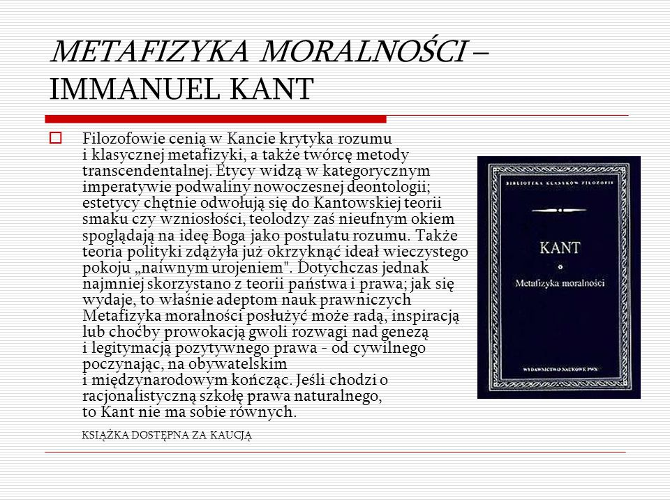 METAFIZYKA MORALNOŚCI – IMMANUEL KANT