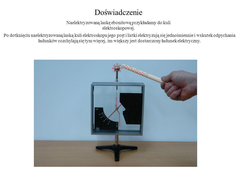 Naelektryzowaną laskę ebonitową przykładamy do kuli elektroskopowej.
