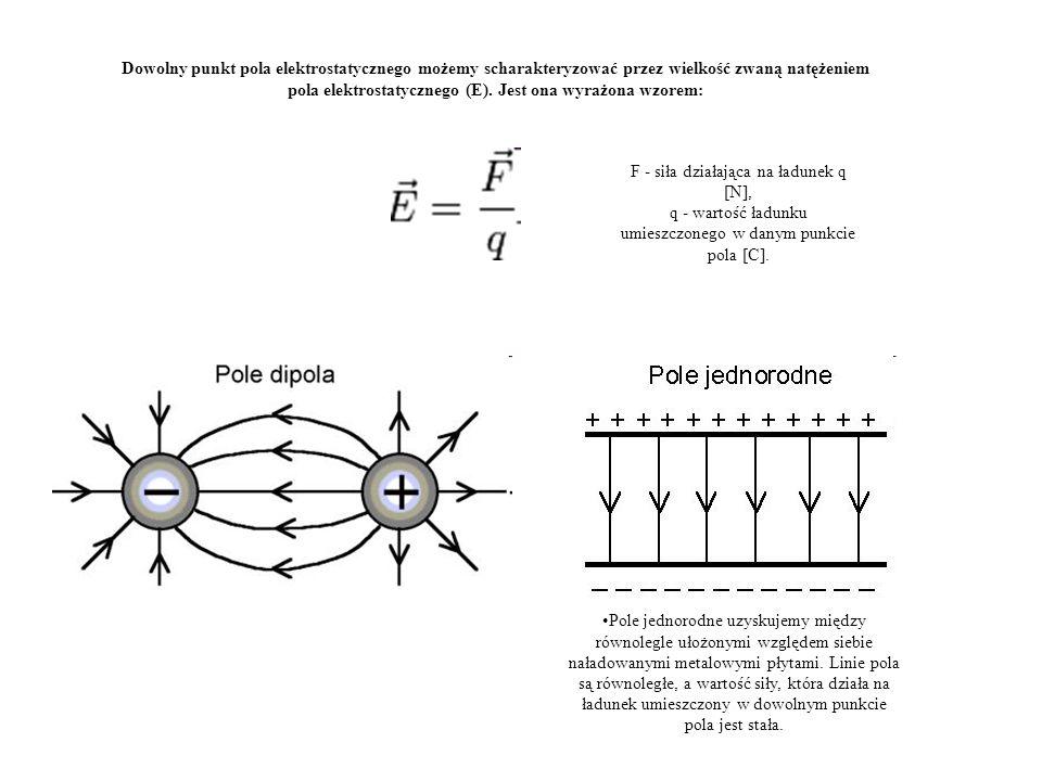 Dowolny punkt pola elektrostatycznego możemy scharakteryzować przez wielkość zwaną natężeniem pola elektrostatycznego (E). Jest ona wyrażona wzorem: