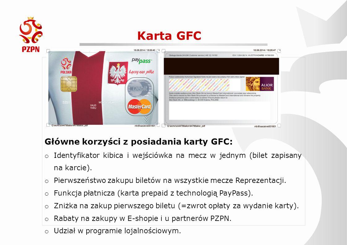 Karta GFC Główne korzyści z posiadania karty GFC:
